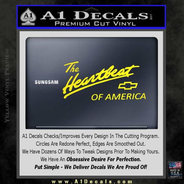 Chevy Heartbeat Of America Decal Sticker Yellow Laptop