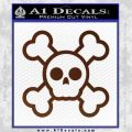 Chibi Skull And Crossbones Decal Sticker BROWN Vinyl 120x120