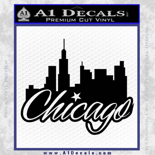 Chicago City Decal Sticker Black Vinyl