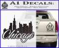 Chicago City Decal Sticker Carbon FIber Black Vinyl 120x97