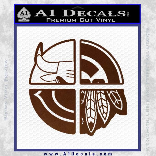 Chicago Pro Sports Decal Sticker Bulls Cubs Bears BROWN Vinyl