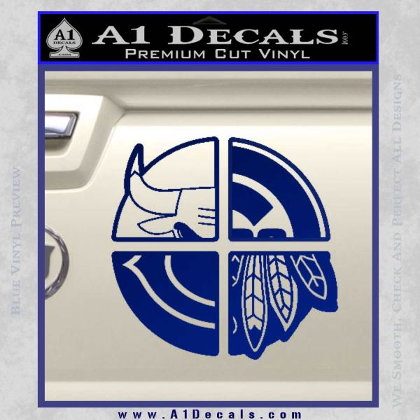 Chicago Pro Sports Decal Sticker Bulls Cubs Bears Blue Vinyl