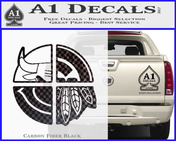Chicago Pro Sports Decal Sticker Bulls Cubs Bears Carbon FIber Black Vinyl