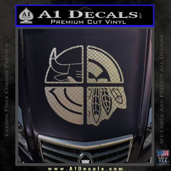 Chicago Pro Sports Decal Sticker Bulls Cubs Bears Carbon FIber Chrome Vinyl