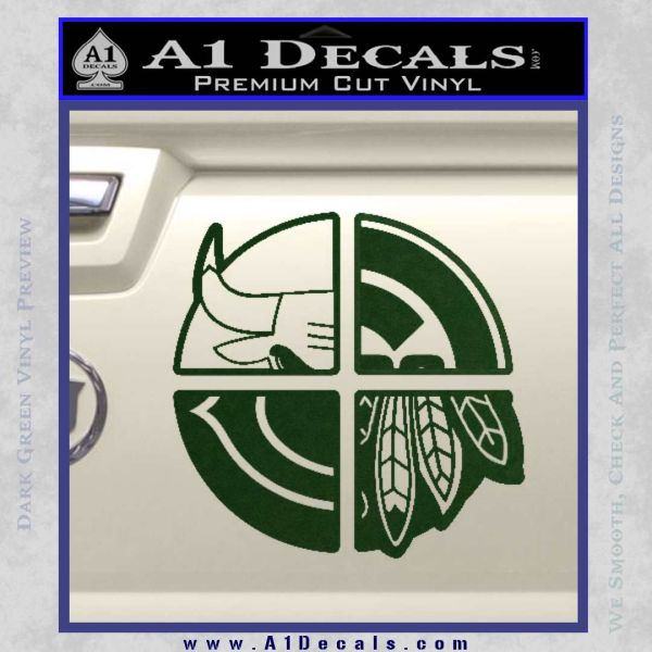 Chicago Pro Sports Decal Sticker Bulls Cubs Bears Dark Green Vinyl