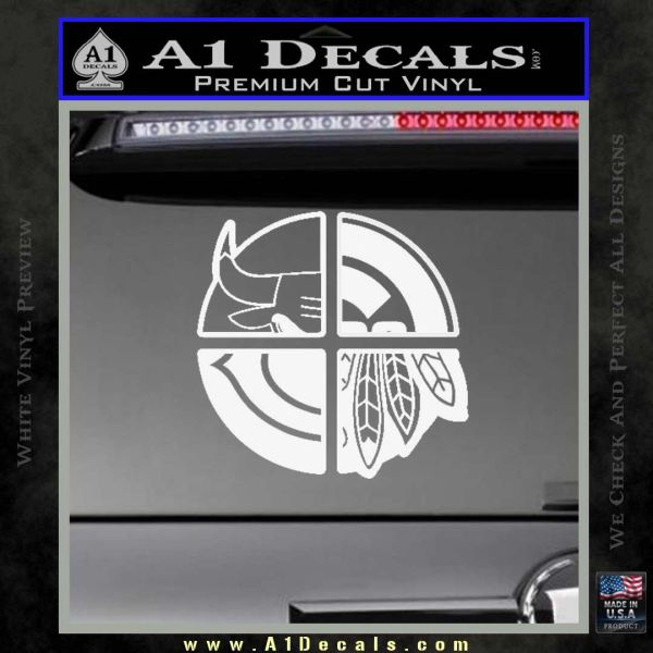 Chicago Pro Sports Decal Sticker Bulls Cubs Bears Gloss White Vinyl