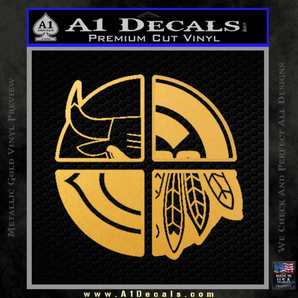 Chicago Pro Sports Decal Sticker Bulls Cubs Bears Gold Vinyl