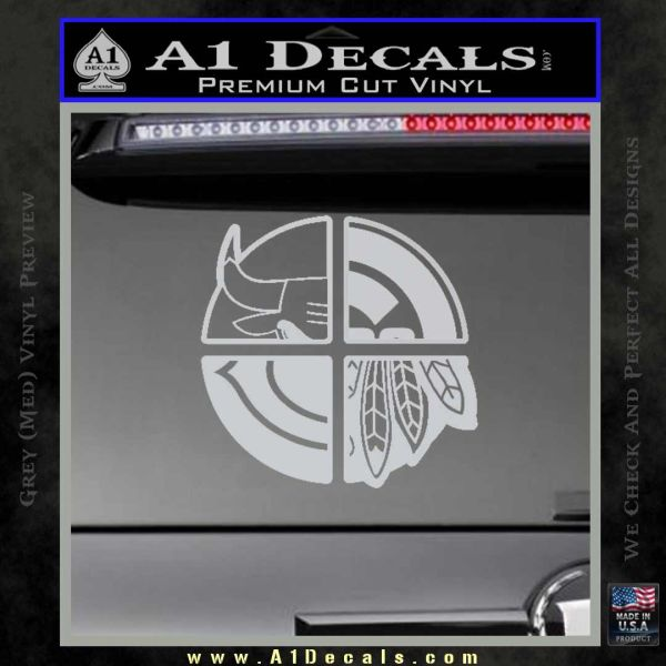 Chicago Pro Sports Decal Sticker Bulls Cubs Bears Grey Bumper