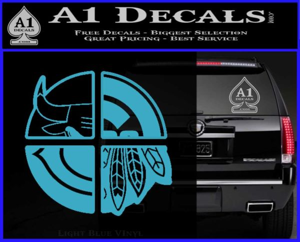 Chicago Pro Sports Decal Sticker Bulls Cubs Bears Light Blue Vinyl