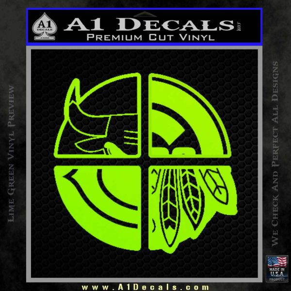 Chicago Pro Sports Decal Sticker Bulls Cubs Bears Lime Green Vinyl