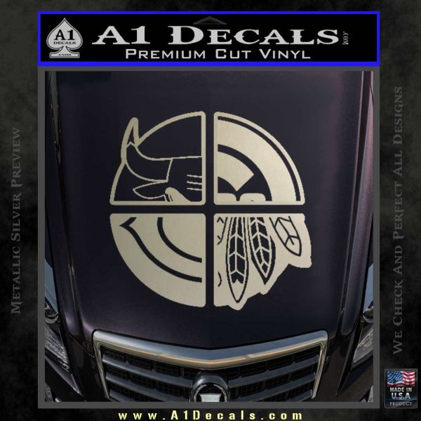 Chicago Pro Sports Decal Sticker Bulls Cubs Bears Metallic Silver Emblem
