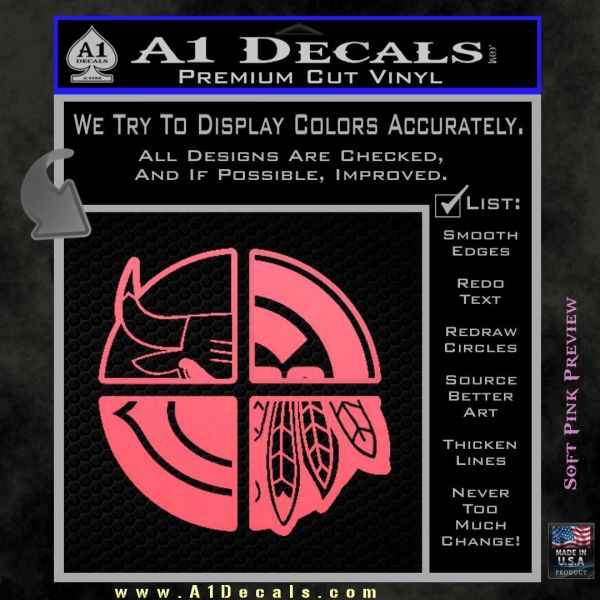 Chicago Pro Sports Decal Sticker Bulls Cubs Bears Pink Emblem