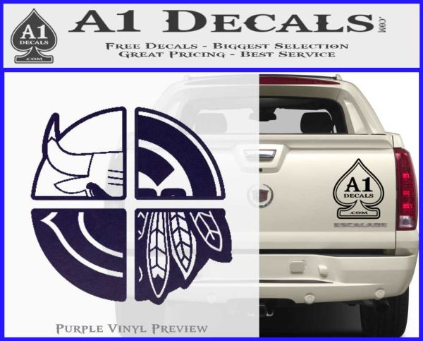 Chicago Pro Sports Decal Sticker Bulls Cubs Bears PurpleEmblem Logo