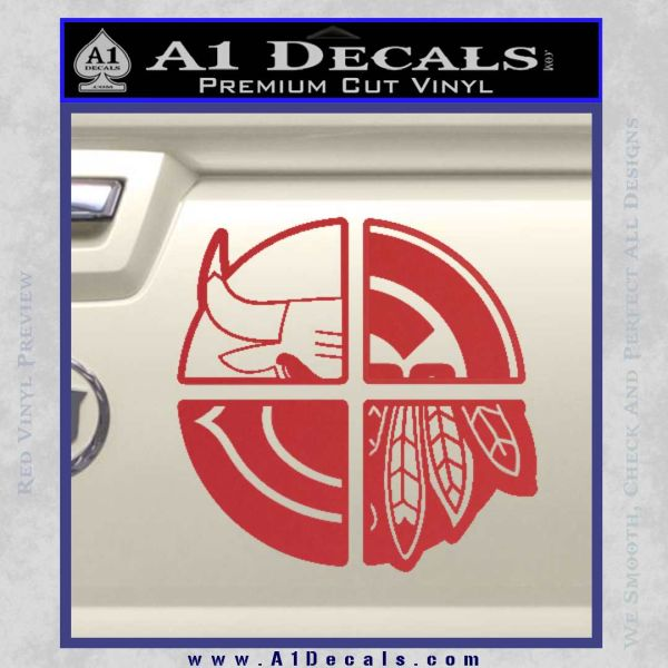 Chicago Pro Sports Decal Sticker Bulls Cubs Bears Red