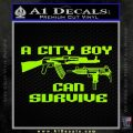 City Boy Can Survive Decal Sticker Lime Green Vinyl 120x120