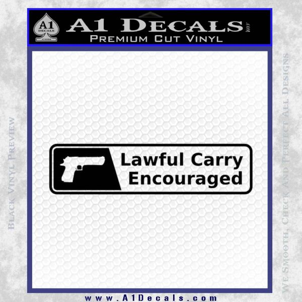 Concealed Lawful Carry Encouraged Decal Sticker Black Vinyl