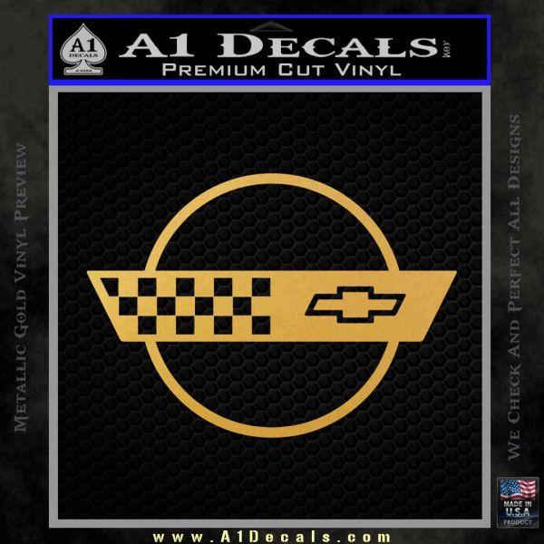 Corvette Decal Sticker Circle Gold Vinyl