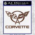 Corvette Flags Decal Sticker BROWN Vinyl 120x120