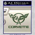 Corvette Flags Decal Sticker Dark Green Vinyl 120x120