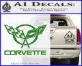 Corvette Flags Decal Sticker Green Vinyl Logo 120x97
