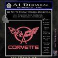 Corvette Flags Decal Sticker Pink Emblem 120x120