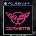 Corvette Flags Decal Sticker Pink Hot Vinyl 120x120