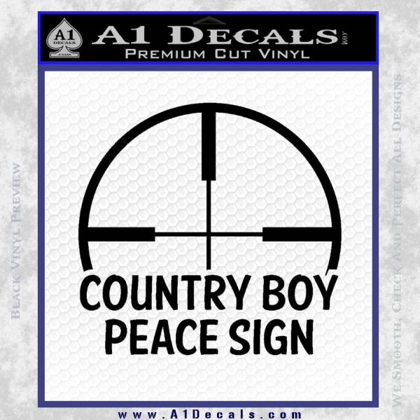 Country Boy Peace Sign Decal Sticker Black Vinyl
