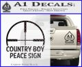 Country Boy Peace Sign Decal Sticker Carbon FIber Black Vinyl 120x97
