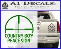 Country Boy Peace Sign Decal Sticker Green Vinyl Logo 120x97