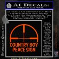 Country Boy Peace Sign Decal Sticker Orange Emblem 120x120