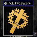 Cross Crucifix Decal Sticker Christian Thorns Gold Vinyl 120x120
