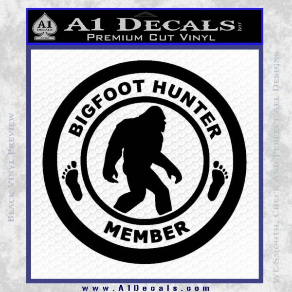 Crypto Zoologist Bigfoot Hunter Decal Sticker Black Vinyl