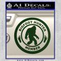 Crypto Zoologist Bigfoot Hunter Decal Sticker Dark Green Vinyl 120x120
