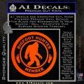 Crypto Zoologist Bigfoot Hunter Decal Sticker Orange Emblem 120x120