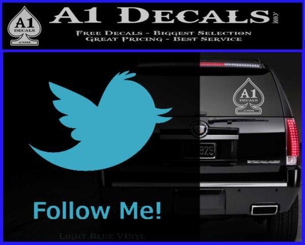 Customizable Twitter Follow Me Decal Sticker Light Blue Vinyl
