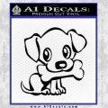 Cute Dog wBone Decal Sticker Black Vinyl 120x120