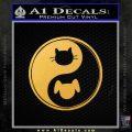 Dog Cat Yin Yang Decal Sticker Gold Vinyl 120x120