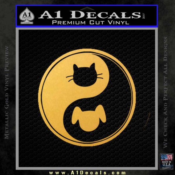 Dog Cat Yin Yang Decal Sticker Gold Vinyl