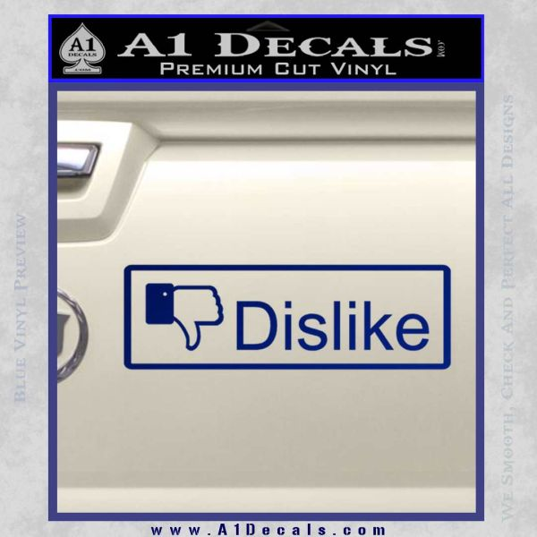 Facebook Dislike Decal Sticker Blue Vinyl