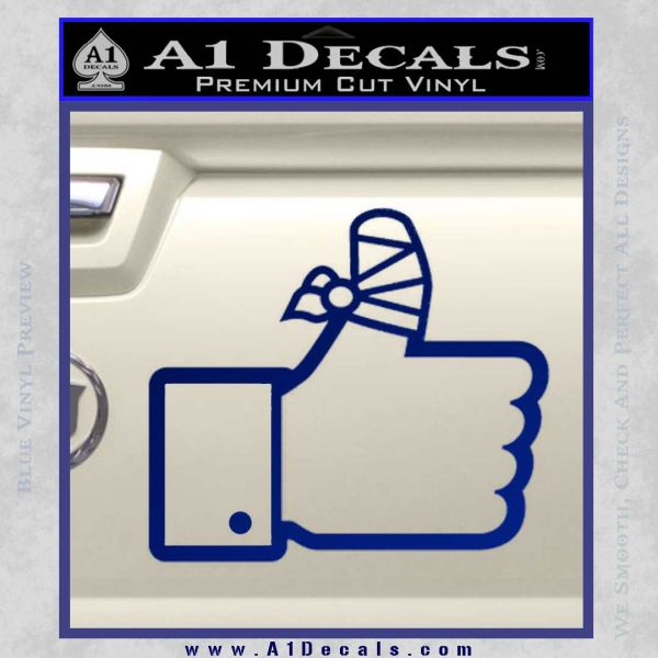 Facebook Like Decal Sticker Busted Thumb Blue Vinyl