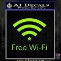 Free WiFi Decal Sticker Custom Lime Green Vinyl 120x120