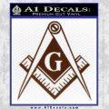 Freemason Compass G Decal Sticker BROWN Vinyl 120x120