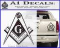Freemason Compass G Decal Sticker Carbon FIber Black Vinyl 120x97