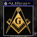 Freemason Compass G Decal Sticker Gold Vinyl 120x120