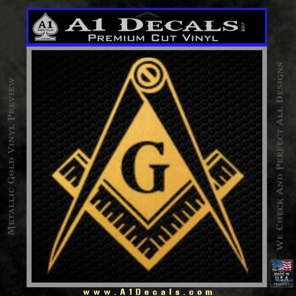 Freemason Compass G Decal Sticker Gold Vinyl