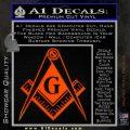 Freemason Compass G Decal Sticker Orange Emblem 120x120