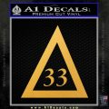 Freemason Masonic 33rd Degree Decal Sticker Gold Vinyl 120x120
