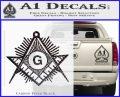 Freemason Masonic G Decal Sticker Carbon FIber Black Vinyl 120x97