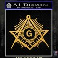 Freemason Masonic G Decal Sticker Gold Vinyl 120x120