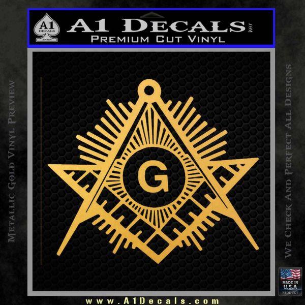 Freemason Masonic G Decal Sticker Gold Vinyl